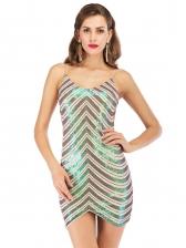 Sexy Irregular Hem Slip Sequin Dress