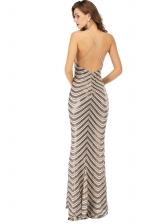 Backless v Neck Sequin Evening Dress