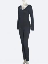 Simple Style U Neck Backless All Black Jumpsuit
