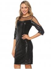 Gauze Patchwork Black Long Sleeve Sequin Dress