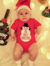Christmas Short Sleeve Snowman Printed Baby Romper