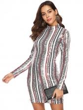 Geometric Printed Mini Long Sleeve Sequin Dress