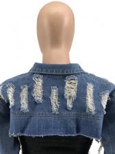 Stylish Ultra Short Women Ripped Denim Jacket