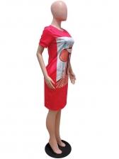 Figure Printed Short Sleeve Casual Dresses