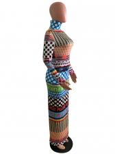Printed Split Bodycon Long Sleeve Maxi Dress