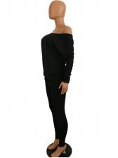 Off The Shoulder Backless Solid 2 Piece Pants Set