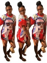 Gauze Stitching Sleeve Printed Short Sleeve Casual Dress