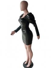 Pu Solid Puff Black Long Sleeve Dress
