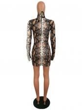 Mock Neck Snake Print Long Sleeve Bodycon Dress