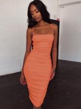 Solid Spaghetti Strap Ruched Sleeveless Midi Dress