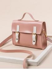 Metal Buckle Rectangle Shoulder Bags With Handle