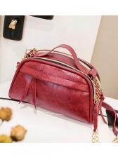 Solid Color Double Zipper Chain Shoulder Bag