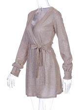Deep V Neck Glitter Tie-Wrap Long Sleeve Dress