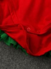 Christmas Ruffled Patchwork Short Dresses For Girls