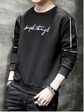 Crew Neck Embroidery Letter Men Sweatshirt