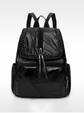 Tassel Zipper All Black Pu Backpacks For Women