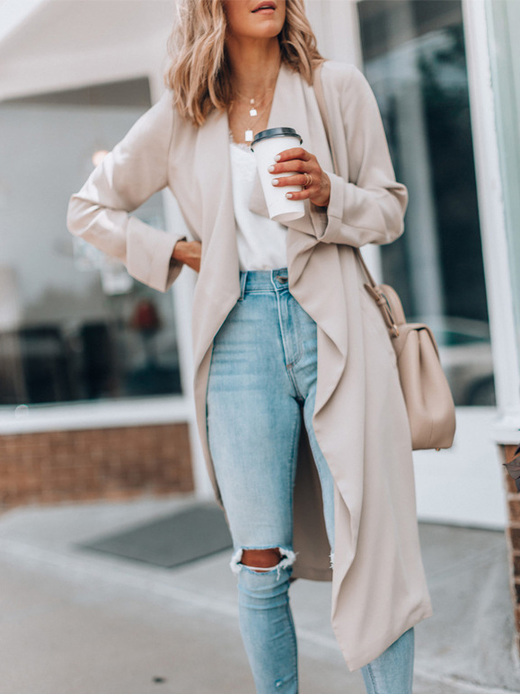 Solid Color Long Sleeve Casual Trench Coat