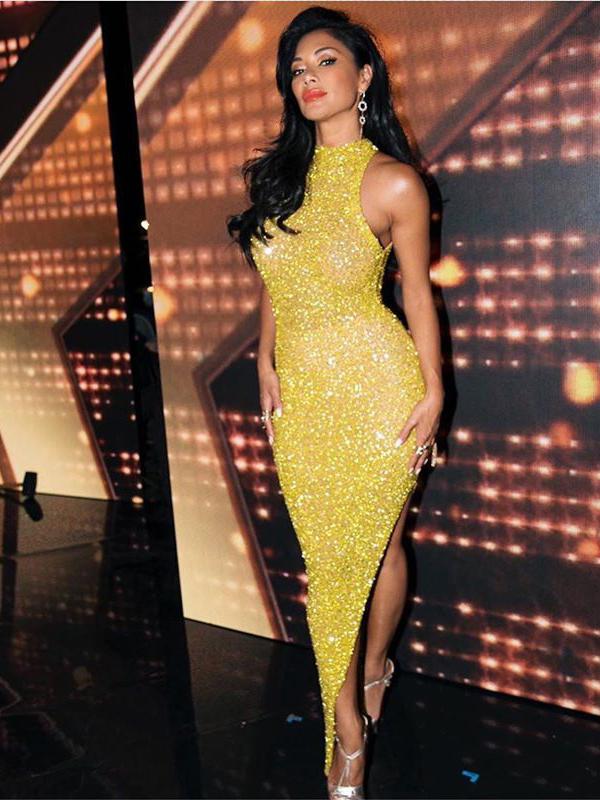 Sexy Bodycon Asymmetric Hem Sequin Maxi Dress