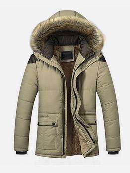 Fur Patchwork Hooded Winter Men ParkaCoat