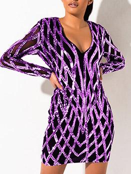 Gauze Patchwork Sequined Long Sleeve V Neck Dress