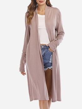 Solid Casual Long Sleeve Loose Long Coat