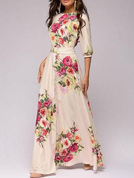 Bohemian Crew Neck Floral Maxi Dress