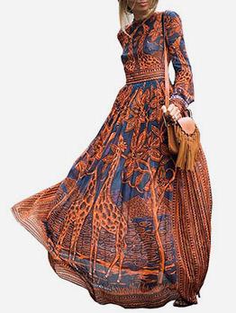 O Neck Pattern Long Sleeve Maxi Dress