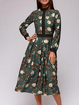 Botanick Printed Midi Long Sleeve Dress