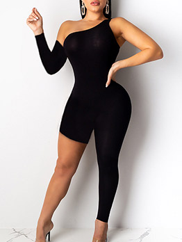 Inclined Shoulder Asymmetrical Fitted Back Jumpsuit