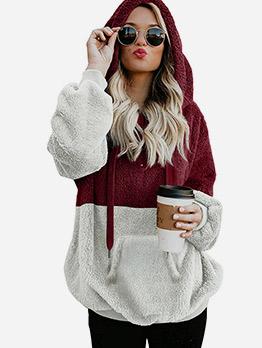 Contrast Color Long Sleeve Casual Fleece Hoodie