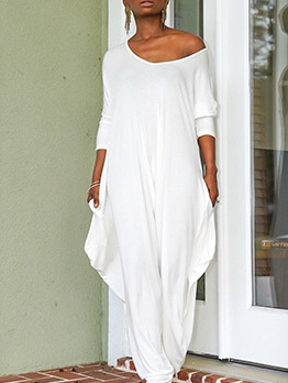 Casual Solid Loose Long Sleeve Jumpsuit