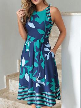 Printed Sleeveless Midi Dress With Belt