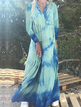 Bohemian Tie Dye Casual Maxi Dresses