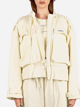 Large Pockets Solid Color Ladies Short Coat