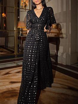 V Neck Slit Polka Dots Cheap Maxi Dresses