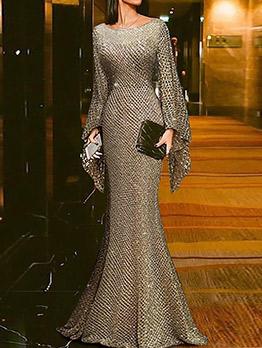 Elegant Slim Fit Long Sleeve Evening Dresses
