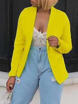 Autumn OL Style Bright Yellow Ladies Blazer