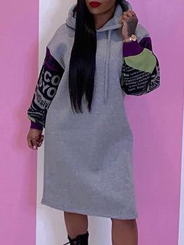 Loose Letter Hooded Ladies Long Sleeve Dress