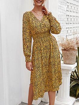 Modern v Neck Elastic Waist Dresses For Women
