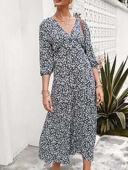 Creative v Neck Long Sleeve Floral Maxi Dress