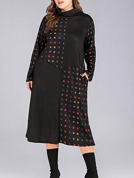 Plaid Patchwork Plus Size Midi Dress