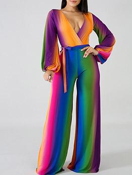 Multicolored V Neck Tie-Wrap Wide Leg Jumpsuit