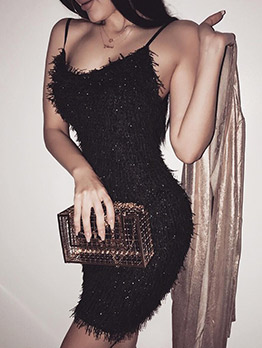 Glitter Faux Fur Tassels Women Sexy Dress