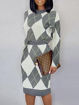Geometric Print Sweater Two Piece Skirt Set