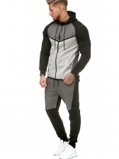 Casual Color Block Men Activewear Sets