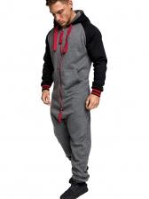 Hooded Patchwork Men Long Sleeve Jumpsuit