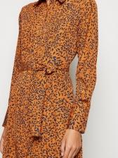 Floral Chiffon Long Sleeve Shirt Dress