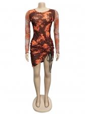 Drawstring Tie Dye Leopard Long Sleeve Short Dress