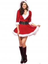 Christmas Cosplay Fur Hooded Long Sleeve Dress