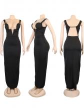Night Club Split Backless Sleeveless Maxi Dress